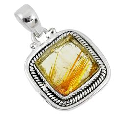 11.23cts natural golden star rutilated quartz 925 sterling silver pendant r60411