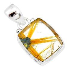 8.51cts natural golden star rutilated quartz 925 sterling silver pendant r86481