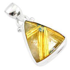 9.80cts natural golden star rutilated quartz 925 sterling silver pendant r86484