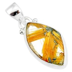 10.65cts natural golden star rutilated quartz 925 sterling silver pendant r86485