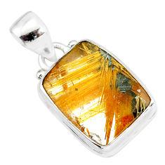 9.97cts natural golden star rutilated quartz 925 sterling silver pendant r86486