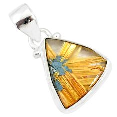 8.24cts natural golden star rutilated quartz 925 sterling silver pendant r86487