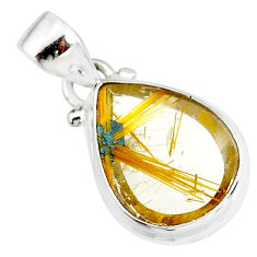 10.65cts natural golden star rutilated quartz 925 sterling silver pendant r86488
