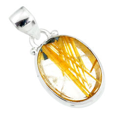 11.73cts natural golden star rutilated quartz 925 sterling silver pendant r86489