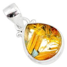 8.45cts natural golden star rutilated quartz 925 sterling silver pendant r86492