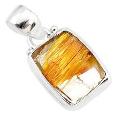 8.80cts natural golden star rutilated quartz 925 sterling silver pendant r86494