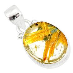 8.73cts natural golden star rutilated quartz 925 sterling silver pendant r86495