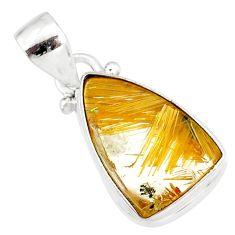 8.24cts natural golden star rutilated quartz 925 sterling silver pendant r86496