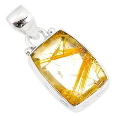 8.73cts natural golden star rutilated quartz 925 sterling silver pendant r86497