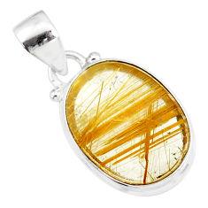 10.08cts natural golden star rutilated quartz 925 sterling silver pendant r86501
