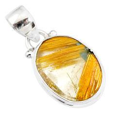 9.68cts natural golden star rutilated quartz 925 sterling silver pendant r86503