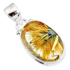 10.69cts natural golden star rutilated quartz 925 sterling silver pendant r86504