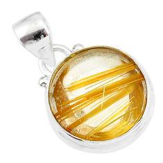10.65cts natural golden star rutilated quartz 925 sterling silver pendant r86505