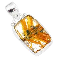 9.29cts natural golden star rutilated quartz 925 sterling silver pendant r86507