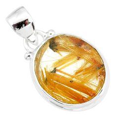 10.08cts natural golden star rutilated quartz 925 sterling silver pendant r86508