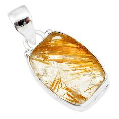 11.21cts natural golden star rutilated quartz 925 sterling silver pendant r86512