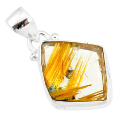 9.80cts natural golden star rutilated quartz 925 sterling silver pendant r86513
