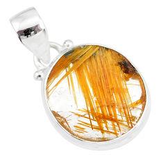 10.65cts natural golden star rutilated quartz 925 sterling silver pendant r86515