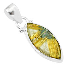 8.35cts natural golden star rutilated quartz 925 sterling silver pendant t39447