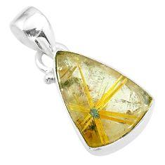 10.74cts natural golden star rutilated quartz 925 sterling silver pendant t39455