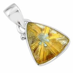9.27cts natural golden star rutilated quartz 925 sterling silver pendant t39456