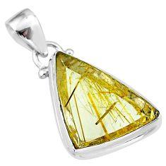 12.58cts natural golden star rutilated quartz 925 sterling silver pendant t39476