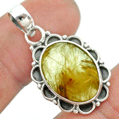 8.87cts natural golden tourmaline rutile 925 sterling silver pendant t53274