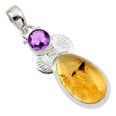 Clearance Sale- 20.65cts natural golden tourmaline rutile amethyst 925 silver pendant d45411