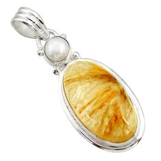 Clearance Sale- 21.72cts natural golden tourmaline rutile pearl 925 silver pendant d44795
