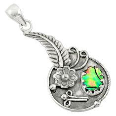 2.46cts natural green abalone paua seashell 925 silver flower pendant r67775