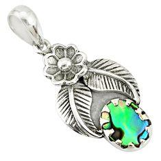 2.78cts natural green abalone paua seashell 925 silver flower pendant r77741