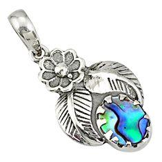 2.44cts natural green abalone paua seashell 925 silver flower pendant r77751