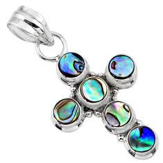 4.26cts natural green abalone paua seashell 925 silver holy cross pendant r55868
