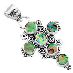 4.03cts natural green abalone paua seashell 925 silver holy cross pendant r55901