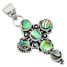3.83cts natural green abalone paua seashell 925 silver holy cross pendant r55941