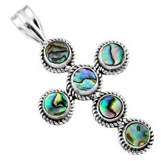 4.16cts natural green abalone paua seashell 925 silver holy cross pendant r55943
