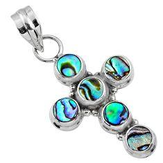 4.40cts natural green abalone paua seashell 925 silver holy cross pendant r65033