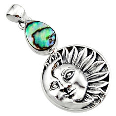2.99cts natural green abalone paua seashell 925 silver moon face pendant r52811