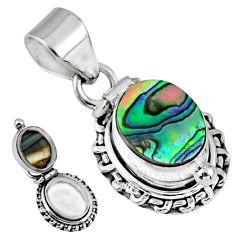 4.21cts natural green abalone paua seashell 925 silver poison box pendant r55663
