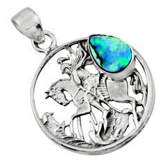 3.04cts natural green abalone paua seashell 925 silver unicorn pendant r52761