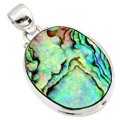 13.51cts natural green abalone paua seashell 925 sterling silver pendant r42021