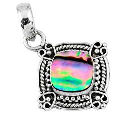 2.60cts natural green abalone paua seashell 925 sterling silver pendant r57646