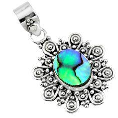 2.77cts natural green abalone paua seashell 925 sterling silver pendant r57665