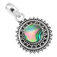2.57cts natural green abalone paua seashell 925 sterling silver pendant r57666