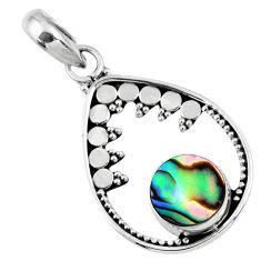 2.72cts natural green abalone paua seashell 925 sterling silver pendant r57687