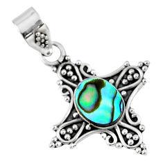 2.42cts natural green abalone paua seashell 925 sterling silver pendant r57704