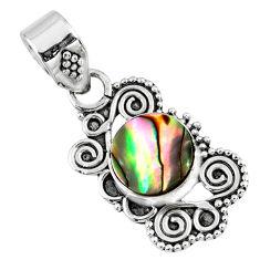 2.72cts natural green abalone paua seashell 925 sterling silver pendant r57705