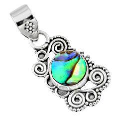 2.42cts natural green abalone paua seashell 925 sterling silver pendant r57724