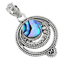2.92cts natural green abalone paua seashell 925 sterling silver pendant r57725