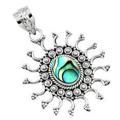 2.55cts natural green abalone paua seashell 925 sterling silver pendant r57763